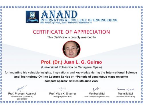 Plenary speaker at International Science and Technology Lecturer Series organized by Anand International College of Engineering, India